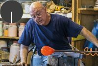 Glassblower in a factory on Murano.