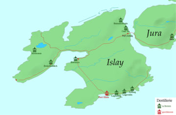 Die acht aktiven Destillerien auf Islay (Grafik Wikipedia //Balgair)