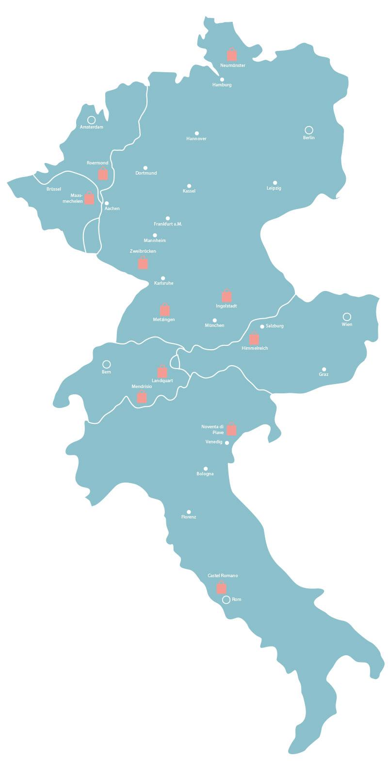 Karte mit Outlets