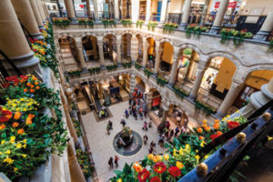 A view of the Magna Plaza courtyard