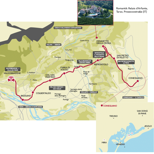 Prosecco road - map