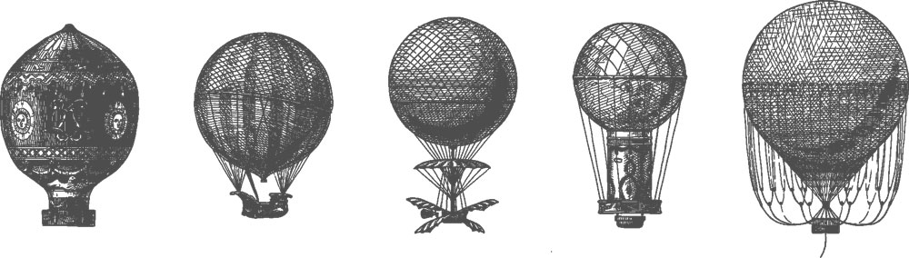 Historical hot-air balloons from the 18th century: To make the cover made of light silk fabrics more stable, therefore, a net was stretched