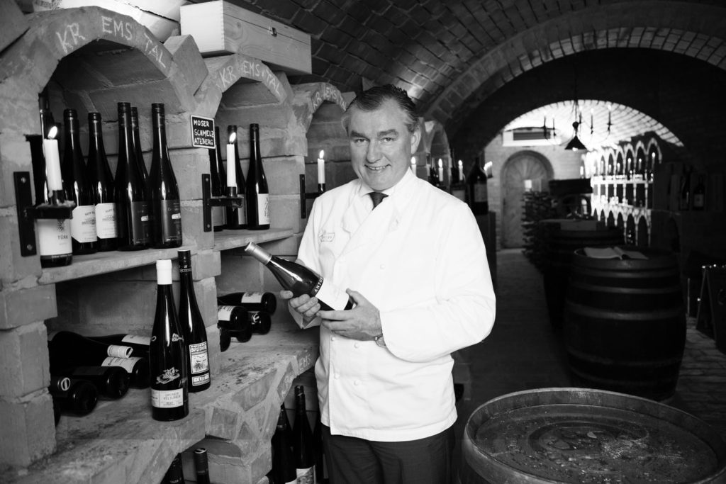 Top chef Toni Mörwald in his well assorted wine cellar