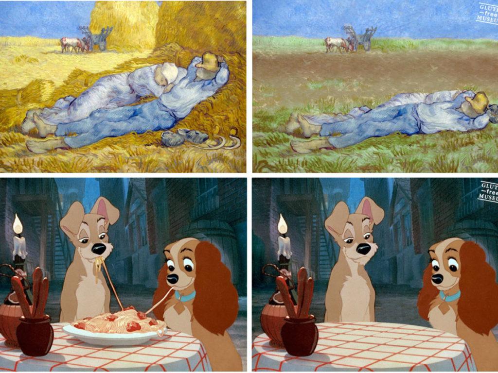 Gluten-free versions of works by Wayne Thiebaud, Razzia, and Walt Disney