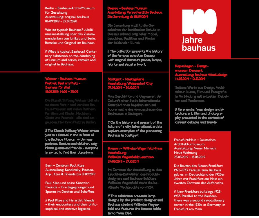 Veranstaltungen zu 100 Jahre Bauhaus